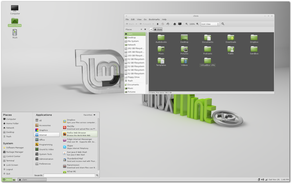 Linux Mint 12 (Lisa) with MATE, showing Caja and the MintMenu.png